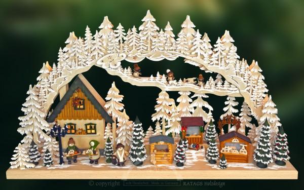 Schwibbogen Markt, Deko, Weihnachten, echt Erzgebirge