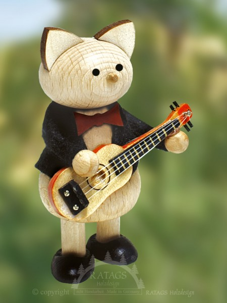 Deko Katze mit Gitarre, echt Erzgebirge