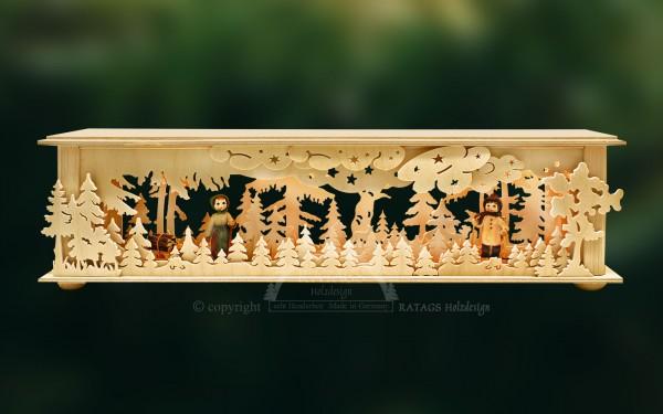 Raumleuchte Wald mit Holzarbeitern, Deko, echt Erzgebirge