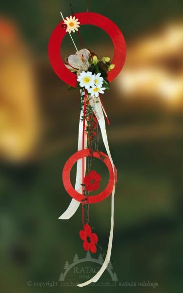 Fensterdekoration, rot, Floristik, Bänder, Runde Ornamente