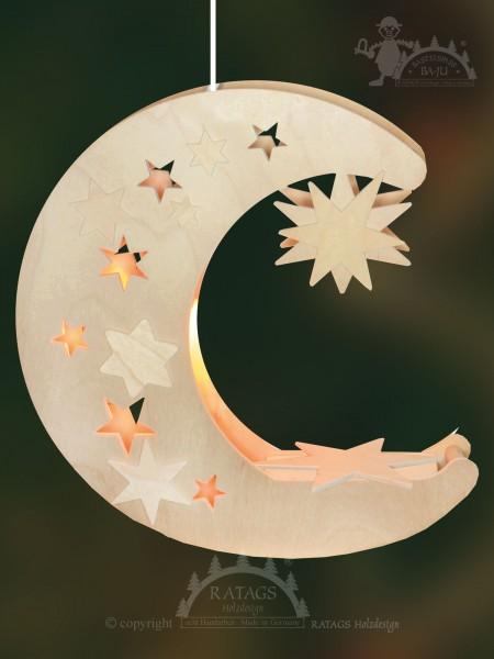 Fensterbild, Mond, Sterne, Basteln, Erzgebirge