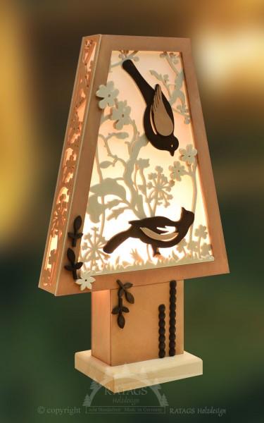 Romantikleuchte Tischlampe, Voegel, Deko, echt Erzgebirge