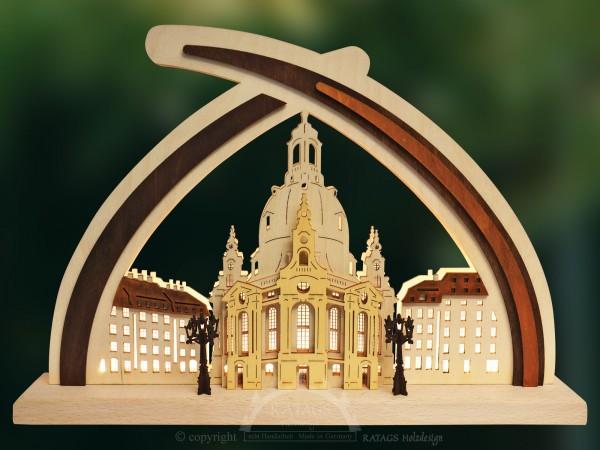 Schwibbogen Frauenkirche Dresden, Deko, echt Erzgebirge