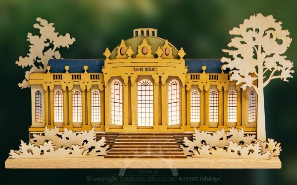 Schwibbogen Schloß Sanssouci, Deko, echt Erzgebirge
