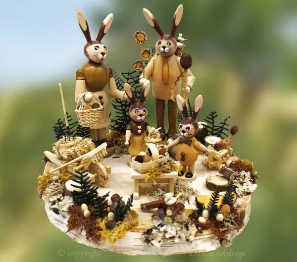Tischschmuck, Hasenfamilie, Ostern, echt Erzgebirge