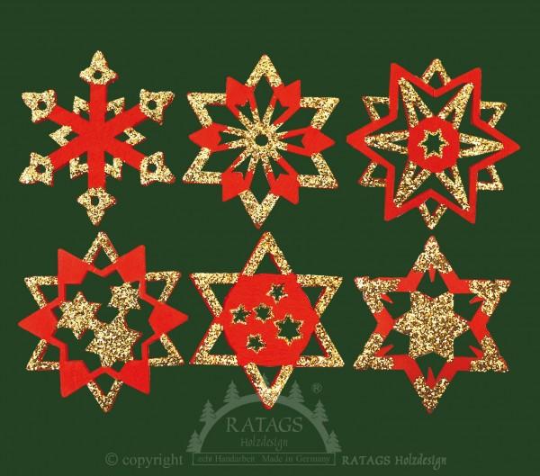 Baumbehang, Deko, echt Erzgebirge, Sterne, Goldglitter, rot
