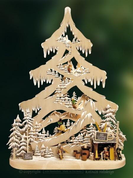 beleuchtete Tanne Skipiste Deko Weihnachten, echt Erzgebirge