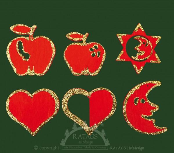 Weihnachten, Deko, echt Erzgebirge, Goldglitter, rot
