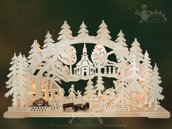 Schwibbogen Dorfleben, Deko, Weihnachten, echt Erzgebirge