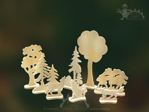 Steckfiguren, Wölfe, Wald, Bäume, Deko