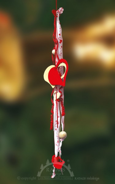 Fensterdeko, rot, Herzen, echt Erzgebirge, Schleifen, natur