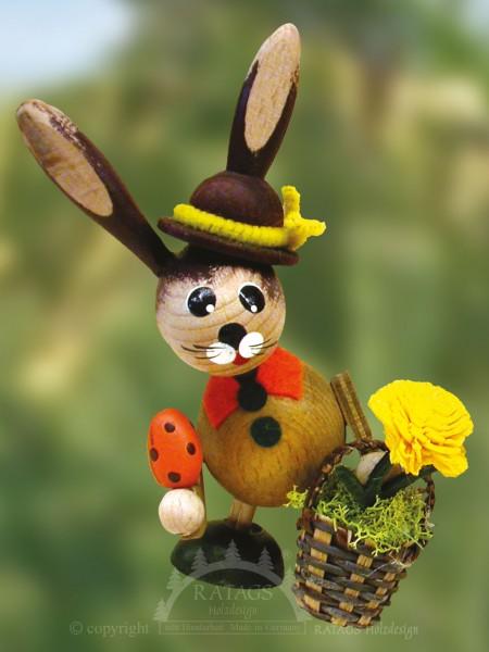 Wackelh=E4sin mit Korb und Blume, Ostern, echt Erzgebirge
