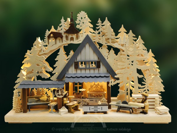 Schwibbogen Werkstatt, Weihnachten, echt Erzgebirge