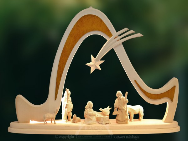 Massivholzbogen Christi Geburt, Weihnachten, echt Erzgebirge