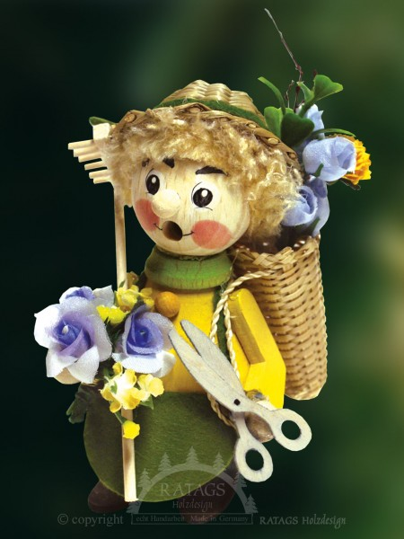 Raeuchermann Blumenfrau, Deko, echt Erzgebirge