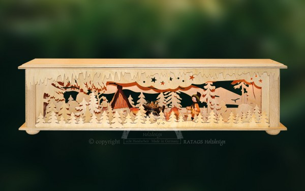 Raumleuchte Haeuschen mit Futterkrippe, echt Erzgebirge