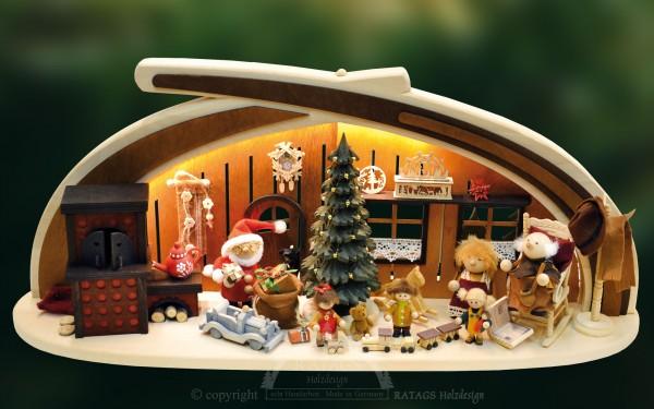 Massivholzbogen Bescherung, Weihnachten, echt Erzgebirge