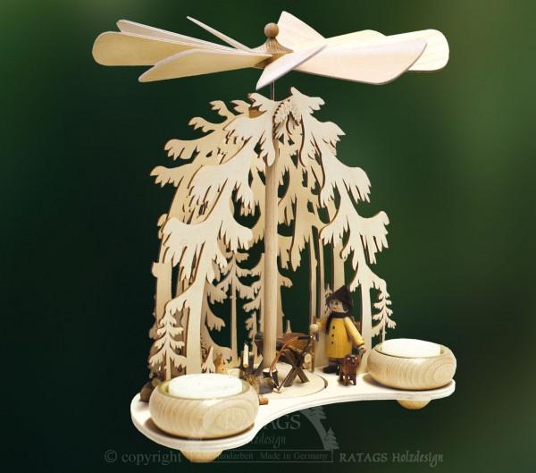 Waldpyramide Holzfaeller, Deko, Weihnachten, echt Erzgebirge