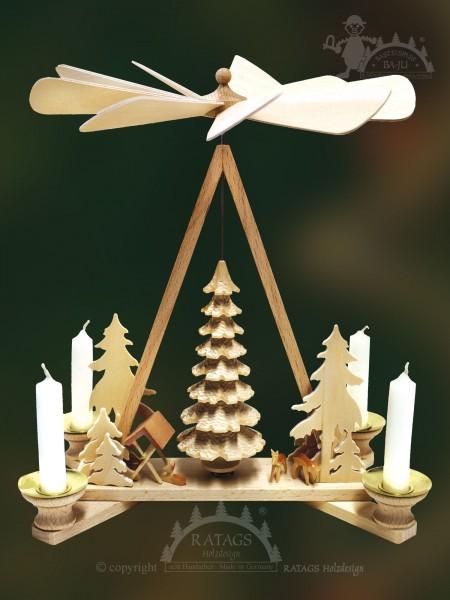 Pyramide mit Mittelbaum, Deko, Weihnachten, echt Erzgebirge
