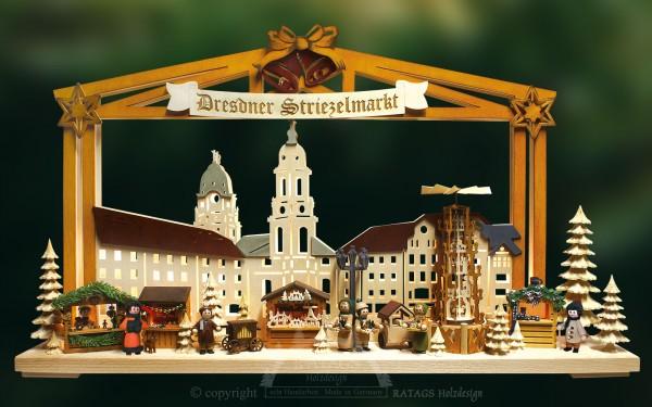 Schwibbogen Dresdner Striezelmarkt, Deko, echt Erzgebirge