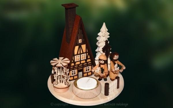 Lichterteller mit Raeucherhaus, Weihnachten, echt Erzgebirge