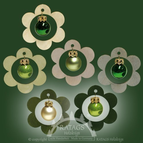Baumbehang, Deko, Blume, echt Erzgebirge, grüne Kugeln, 3D