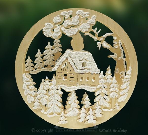 Fensterbild, beleuchtet, Waldhütte, Raureif