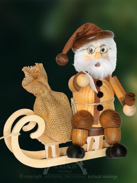 Raeuchermann Weihnachtsmann mit Sack, echt Erzgebirge