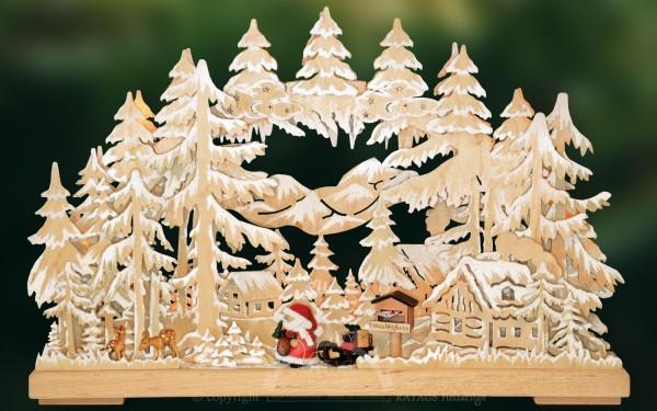 Schwibbogen Weihnachtspost, Rehe, Deko, echt Erzgebirge