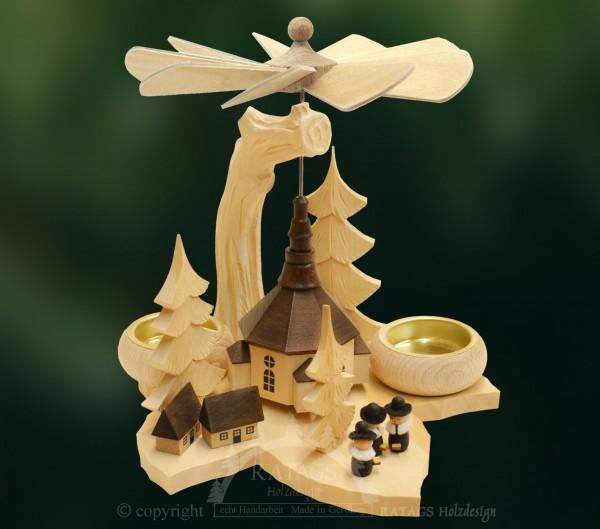 Massivholz Blattpyramide, Weihnachten, echt Erzgebirge, Deko