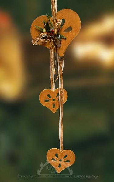 Fensterdeko, Herzen, braun, Bänder, Floristik