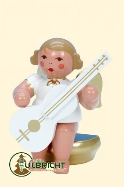 Engel sitzend mit Gitarre, weiß/gold