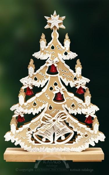 beleuchtete Glockentanne, Deko Weihnachten, echt Erzgebirge
