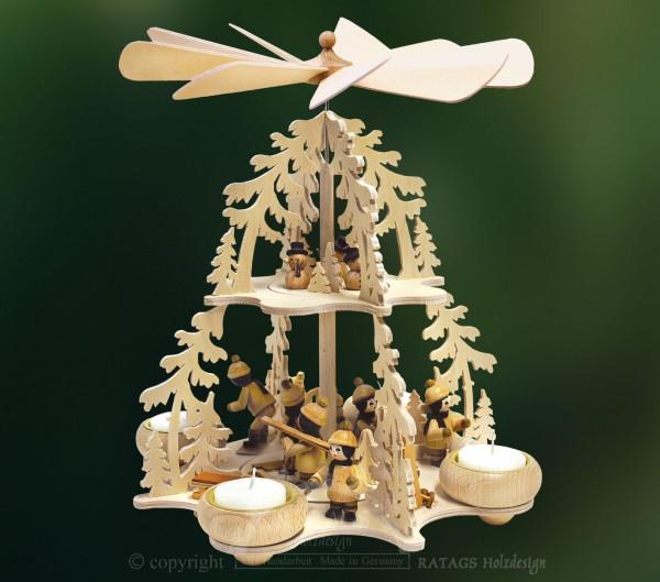 Tannenwaldpyramide, Deko, Weihnachten, echt Erzgebirge