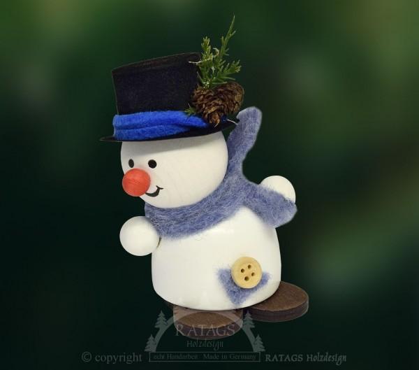 Moppel-Schneemann mit Schwung, belebt, freudig, Winter
