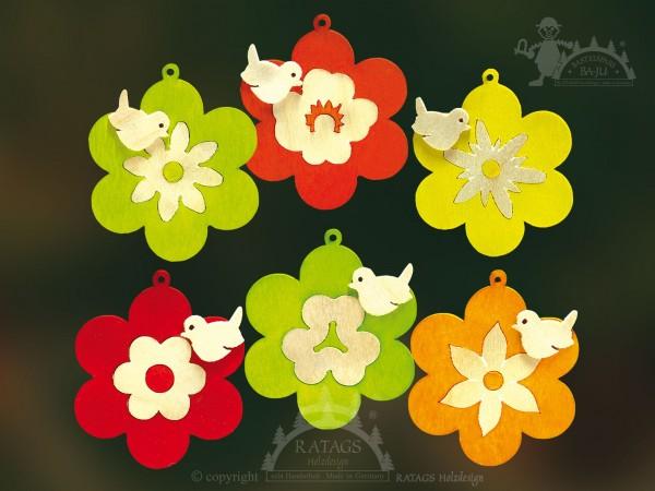 Baum- Strauchbehang, Deko, Intarsie, Blumen, Vogel, farbig