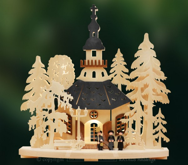 Schwibbogen Kirchgang Seiffen, Weihnachten, echt Erzgebirge