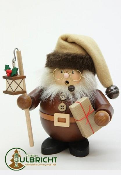 Räuchermann Weihnachtsmann mit Laterne natur