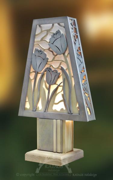 Romantikleuchte Tischlampe Tulpen Fruehling, echt Erzgebirge