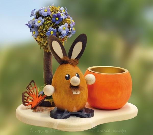 Teelichthalter Hase am Bl=FCtenbaum, Ostern, echt Erzgebirge