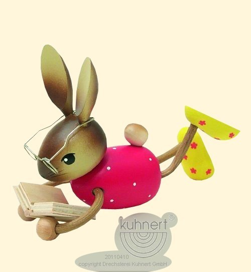 Hasenmädchen liegend mit Buch, Kuhnert, Ostern, echt Erzgeb.