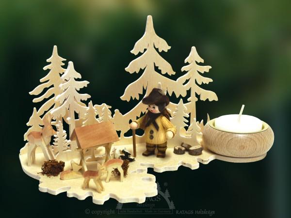 Tischschmuck, Waldwanderung, Kerzenhalter, Rehe