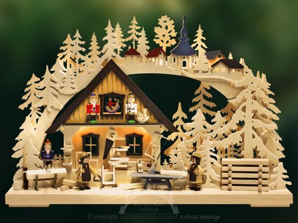 3D-Schwibbogen Nußknackerwerkstatt, Deko, echt Erzgebirge