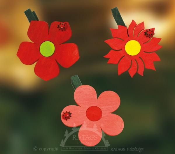 Ansteckklammer, Deko, Blume, echt Erzgebirge
