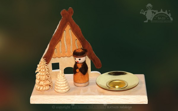 Tischschmuck Haeuschen, Deko, Weihnachten, echt Erzgebirge