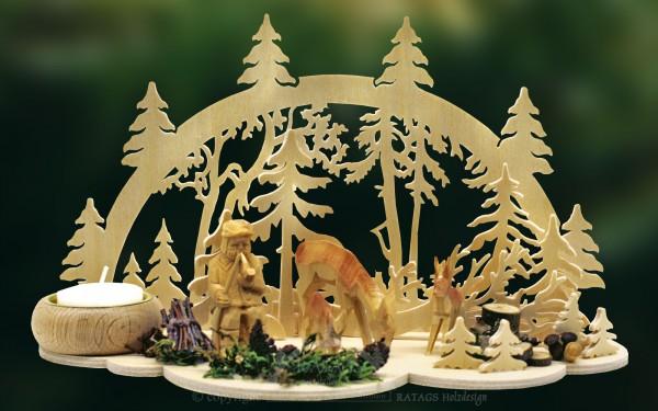 Tischschmuck, Waldszene, geschnitzte Figuren