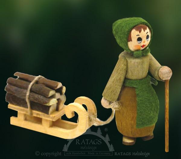 Figur, Holzsammlerin, Schlitten