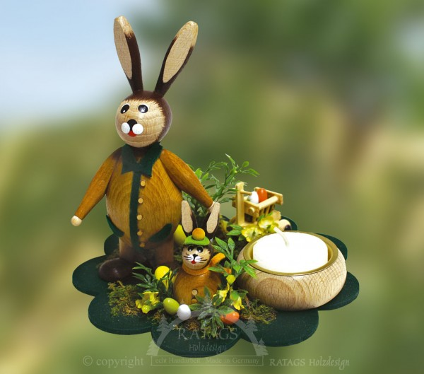Tischschmuck Hasen auf Bl=FCtenteller, Ostern, echt Erzgebirge