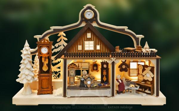 Schwibbogen Uhrenwerkstatt, Deko, echt Erzgebirge