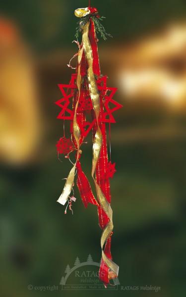 Fensterdeko, Sterne, echt Erzgebirge, rot, Bänder